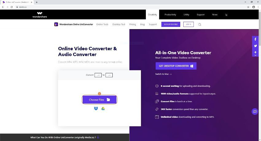 load files into Online UniConverter