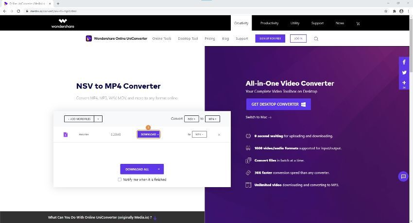 convert NSV file by Online UniConverter