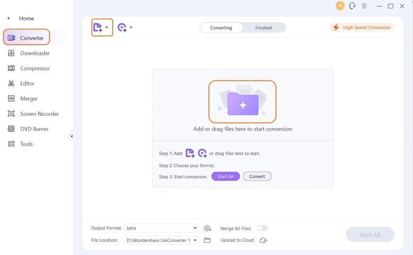ajouter le fichier ts à l'uniconverter de Wondershare