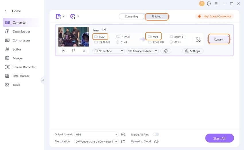 Start DAV to MP4 File Conversion