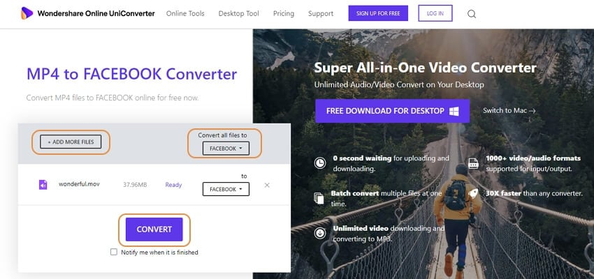 convert facebook cover video online