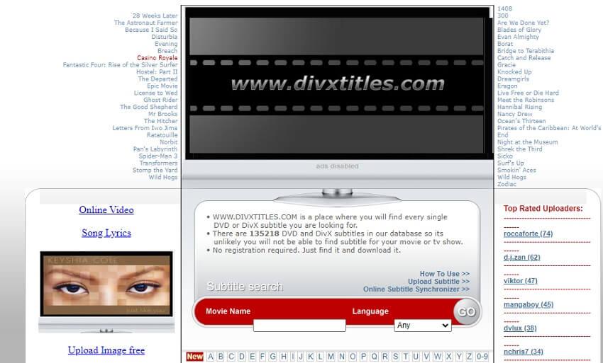 Find DivX Subtitle in DivX Titles