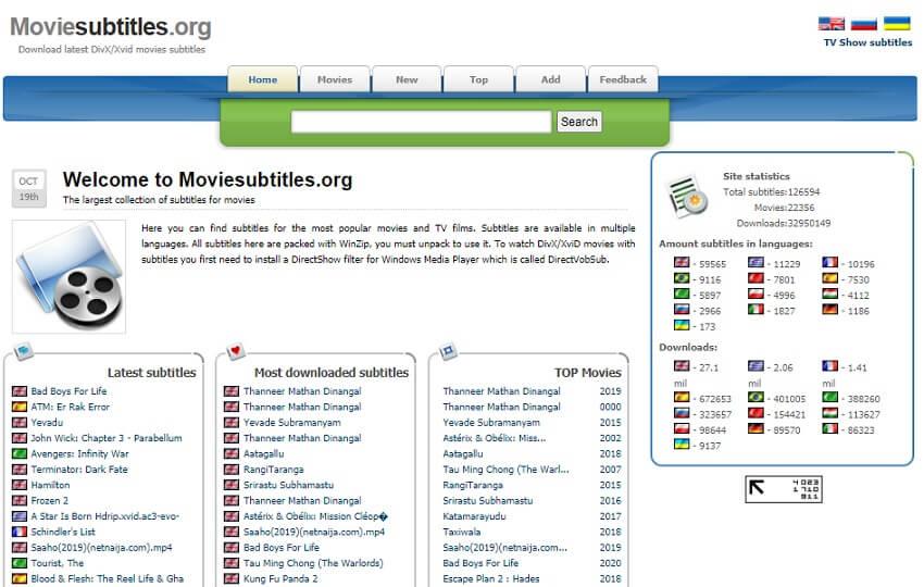 Find DivX Subtitle in Moviesubtitles.org