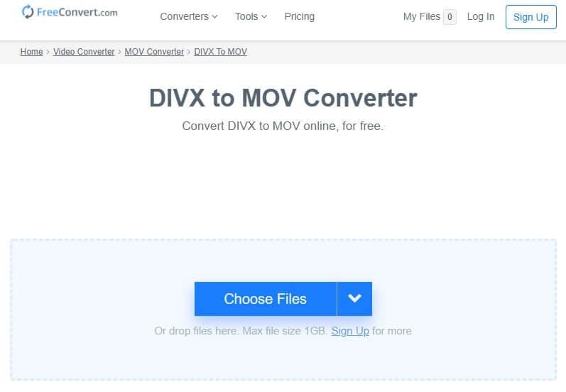 Convert MOV to DivX online with FreeConvert