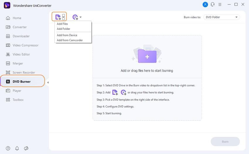 Add files(s) to Wondershare dvd converter and burner