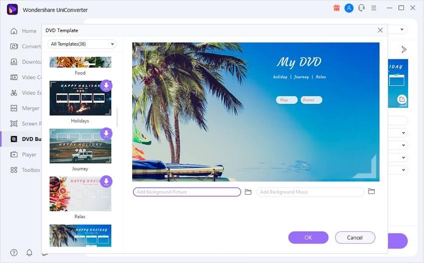 Choose DVD menu template