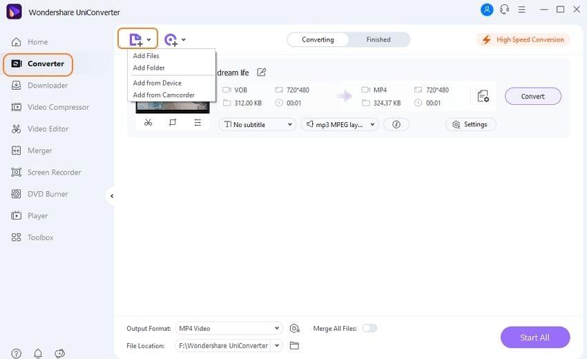 Ajouter des fichiers VOB à ce découpeur VOB