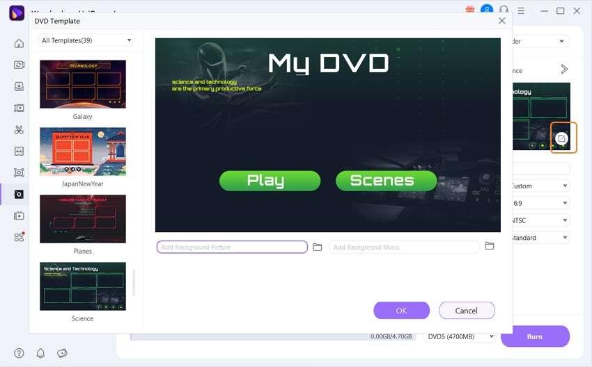 choose dvd templates for avi