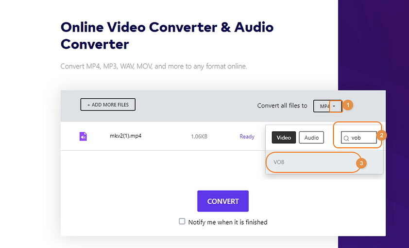 How to Convert Videos to DVD - Select VOB as Output