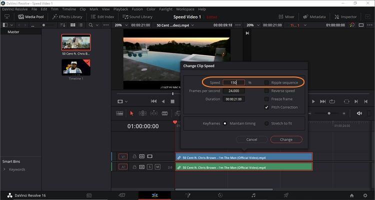 Change Clip Speed on DaVinci Resolve