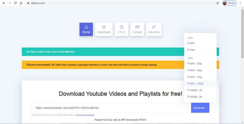 youtube to mp4 hd converter - DDownr