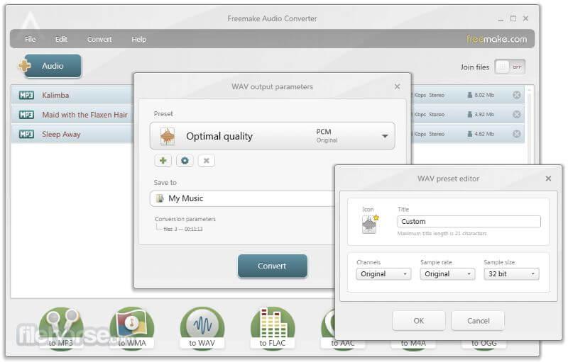 compress audio files using Freemake Audio converter