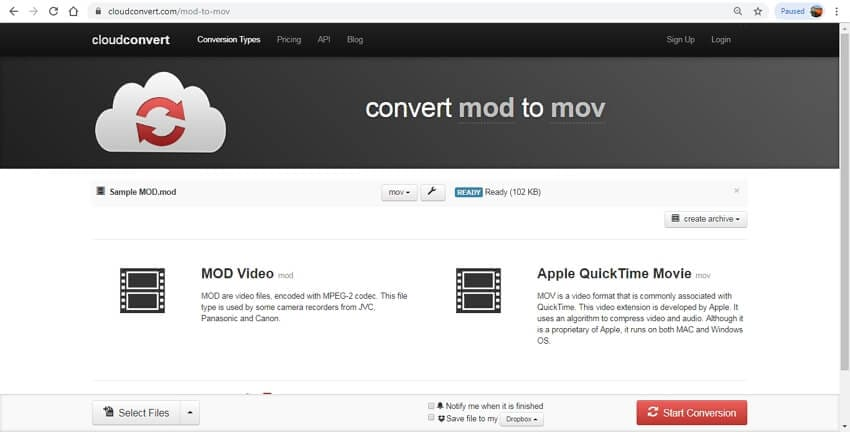 mod to mov converter online - CloudConvert