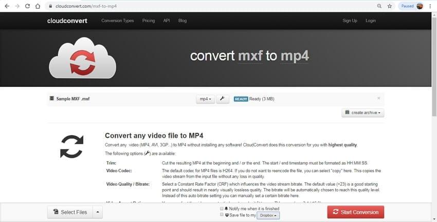 mxf to mp4 online - CloudConvert