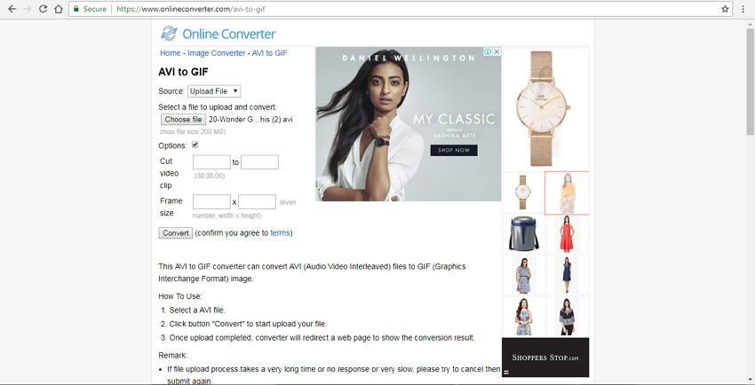 AVI online mit dem Online Converter zu GIF konvertieren