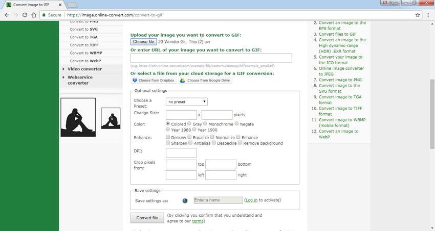 AVI kostenlos mit Online Convert zu GIF konvertieren