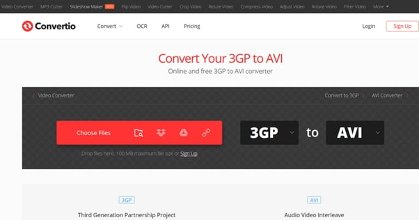 convert 3GP to AVI by Convertio