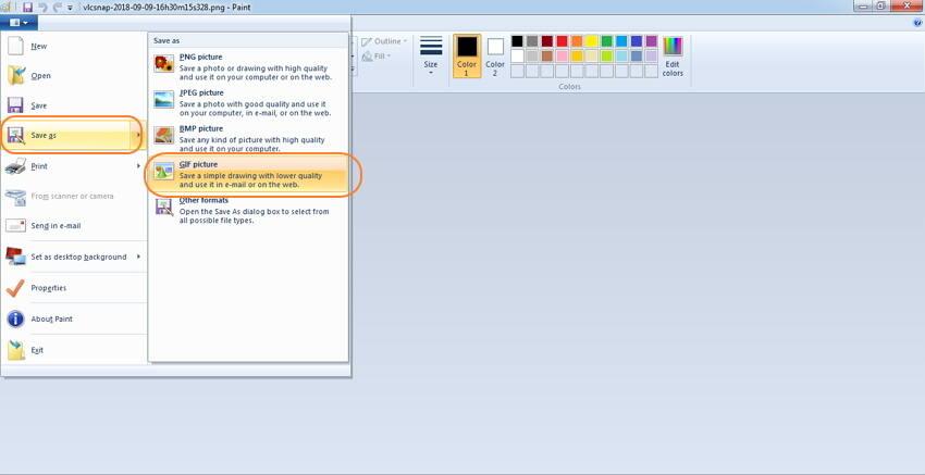 Konvertieren von Videos zu GIF mit MSPaint