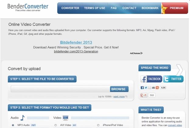 convert AVI to MOV by Bender Converter
