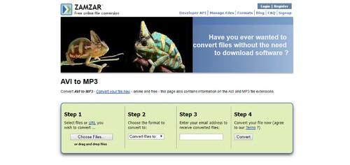 online avi to mp3 converter-zamzar