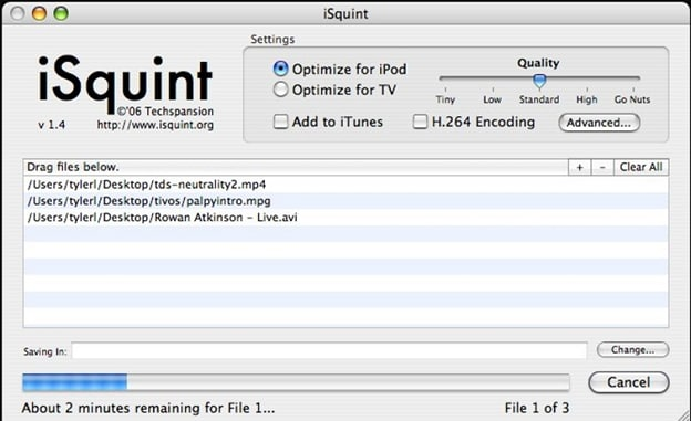 convert AVI to MPEG by iSquint