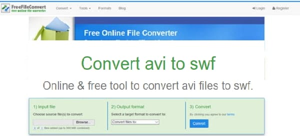 convert AVI to SWF online by Free File Convert