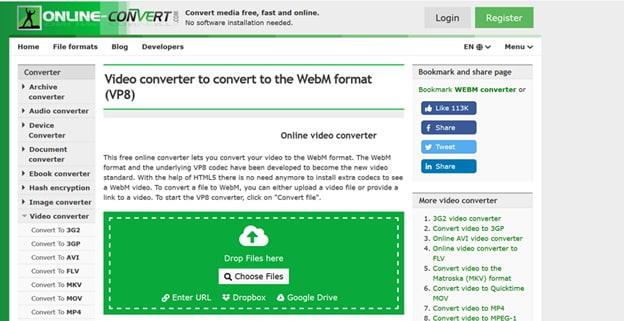 convert AVI to WebM by Video.online-convert