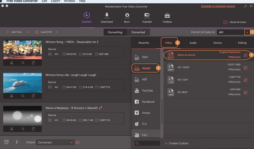 convert AVI to WebM by Wondershare Free AVI to WebM Converter