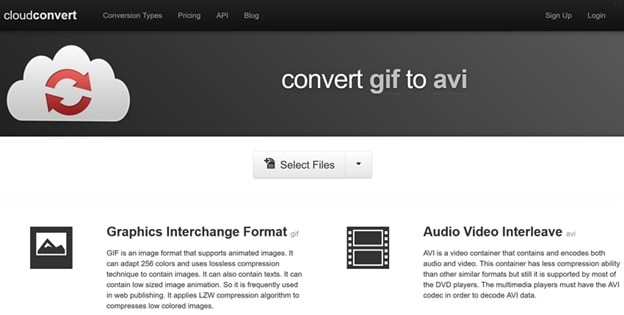 convert GIF to AVI by Cloudconvert
