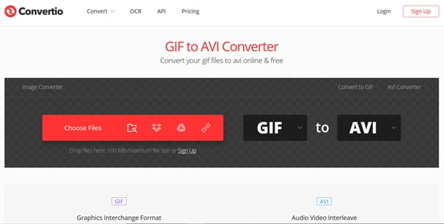 convert GIF to AVI by Convertio