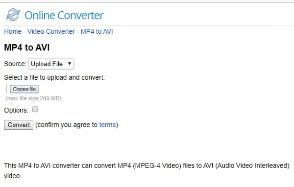 Online Converting MP4 to AVI Converter