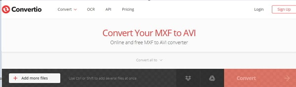 convert MXF to AVI by Convertio