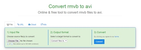 convert RMVB to AVI by FreeFileConvert