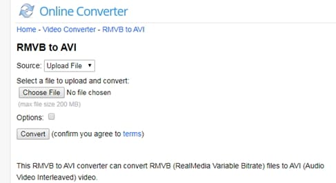 convert RMVB to AVI by Online Uniconverter