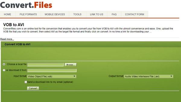 convert VOB to AVI by Convertfiles