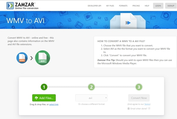 convert WMV to AVI by Zamzar