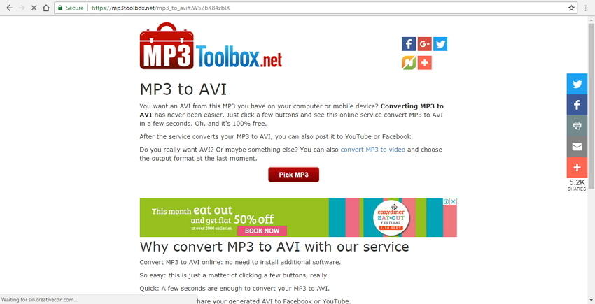 Convert MP3 to AVI free with MP3Toolbox