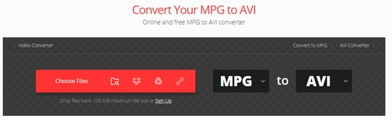 convert MPG to AVI by Convertio