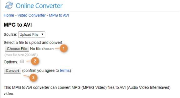 MPG zu AVI konvertieren mit dem Onlineconverter