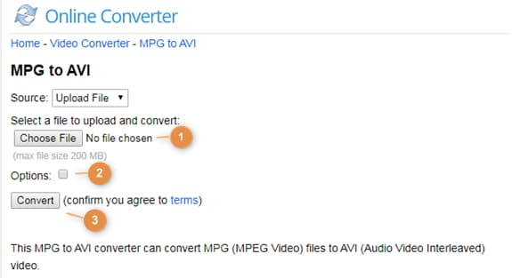 convert MPG to AVI by Onlineconverter