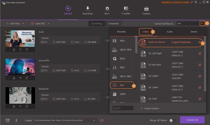convert the FLV to AVI by Wondershare Free FLV to AVI Converter