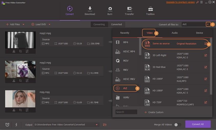 Mit dem Wondershare Free MPG to AVI Converter MPG in AVI umwandeln