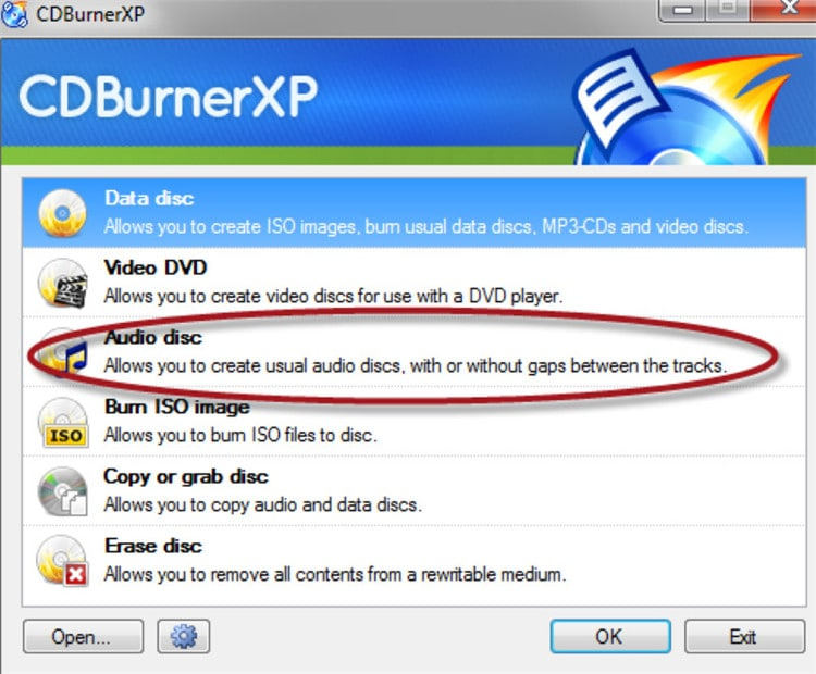 CDBurner XP Audio CD burning software