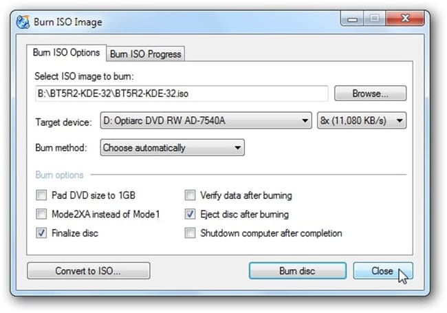 burn files to cd windows