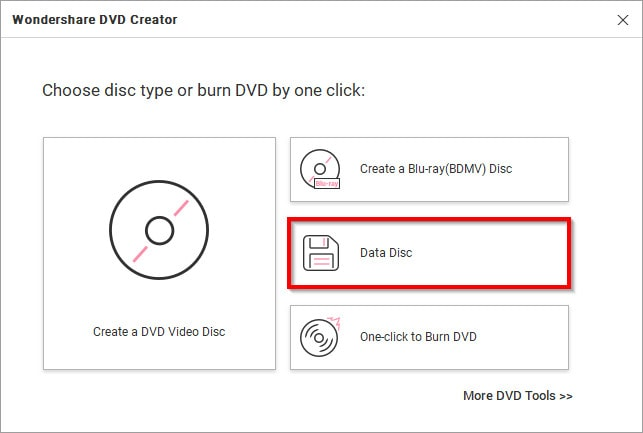 data disc option for burning photos to CD