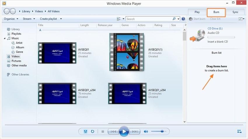M4A auf CD brennen mit Windows Media Player - Schritt 2