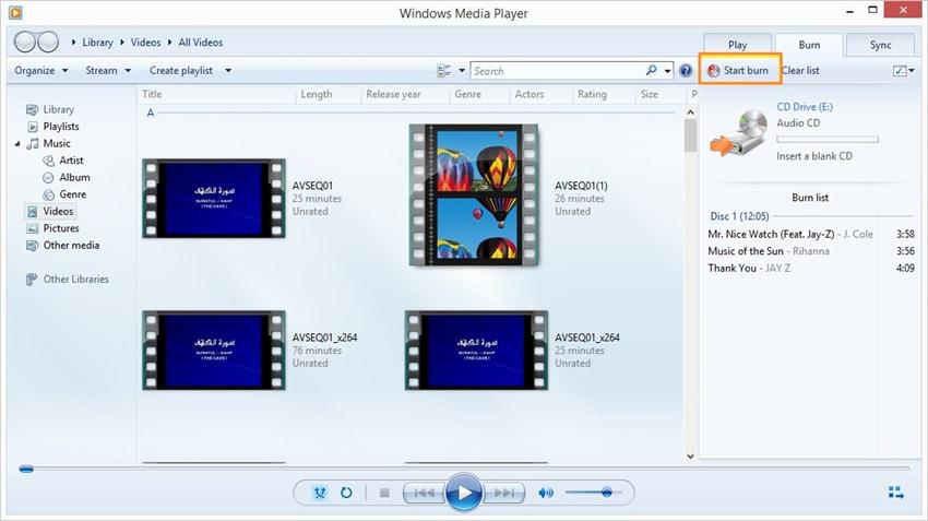 M4A auf CD brennen mit Windows Media Player - Schritt 3