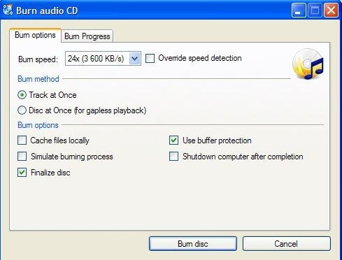 install windows cd burner
