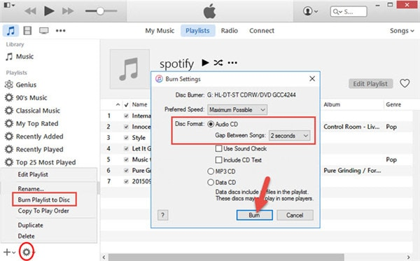 select burn playlist to disk