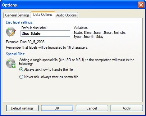 setting default disc name